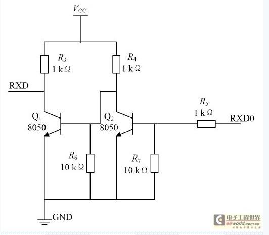1. 1 GSM 及电平转换模块   GSM 模块采用的是西门子工业级GSM 模块TC35i,由于T C35I UART 的电平为2. 9 V T TL电平, 不能直接与AT mega16 相连, 所以如图3 电平转换电路所示, 在RXD 端使用2 个简单的非门做电平转换以及在T XD 端串1 个限流电阻。由于TC35I 对电源要求较高( 电压下降超过400 mV 将复位) , 并且在发送数据期间电流峰值会达到2.